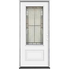 Porte extérieure 36 x 4 9/16 Verre 3/4 Noir Antique  Ouverture Gauche