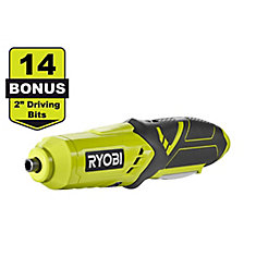 4V Cordless Power Screwdriver with (14) 2-Inch Bonus Driver Bits