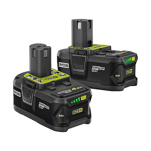 RYOBI 18V ONE+ Lithium-Ion Battery Pack 4.0 Ah (2-Pack)