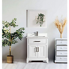 Genoa 30 inch Vanity in White with Single Basin Vanity Top in White Phoenix Stone and Mirror