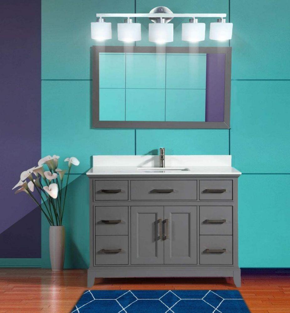 Vanity Art Genoa 48 inch Vanity in Grey with Single Basin Vanity Top in White Phoenix Stone and Mirror