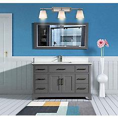 Genoa 60 inch Vanity in Grey with Single Basin Vanity Top in White Phoenix Stone and Mirror