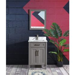 Vanity Art Savona 24 inch Vanity in Grey with Single Basin Vanity Top in White and Grey Marble and Mirror