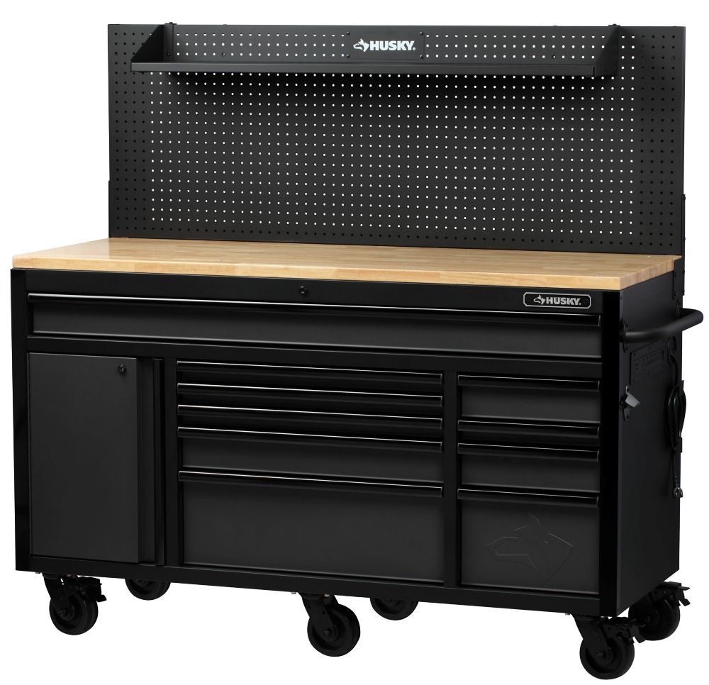 Husky Heavy-Duty 61-inch W x 23-inch D 10-Drawer 1-Door Tool Chest Mobile Workbench with Flip-up Pegboard in Matte Black H61MWC10PB