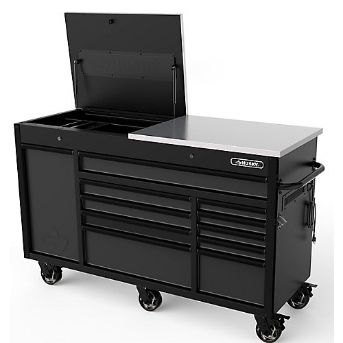 Heavy-Duty 63-inch W x 23-inch D 11-Drawer Tool Chest Mobile Workbench with Flip-Top Stainless Steel Top in Matte Black