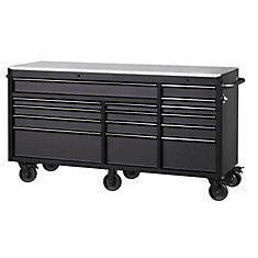 Heavy-Duty 72-inch W x 24-inch D 15-Drawer Tool Chest Mobile Workbench w/ Stainless Steel Top and Dual Locks, Matte Black