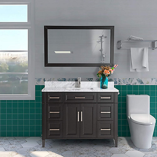 Savona 48 inch Vanity in Espresso with Single Basin Vanity Top in White and Grey Marble and Mirror