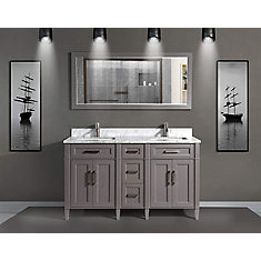 Savona 60 inch Vanity in Grey with Double Basin Vanity Top in White and Grey Marble and Mirror