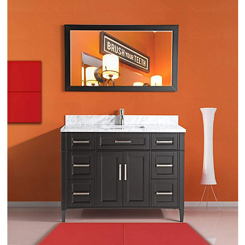 Savona 60 inch Vanity in Espresso with Single Basin Vanity Top in White and Grey Marble and Mirror