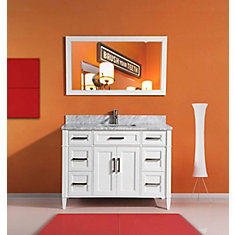 Savona 60 inch Vanity in White with Single Basin Vanity Top in White and Grey Marble and Mirror