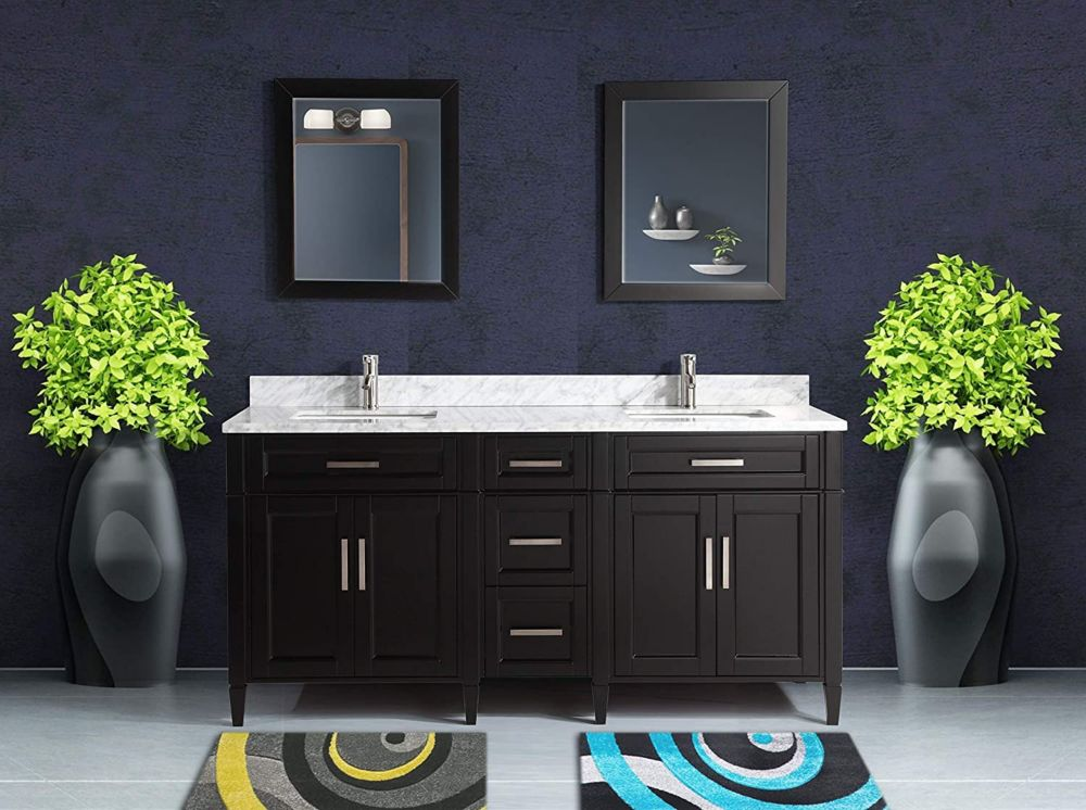 Vanity Art Savona 72 inch Vanity in Espresso with Double Basin Vanity Top in White and Grey Marble and Mirror