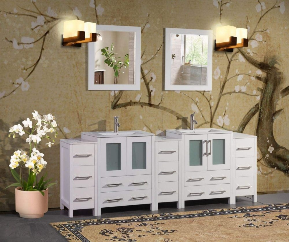 Vanity Art Brescia 84 inch Bathroom Vanity in White with Double Basin Top in White Ceramic and Mirror