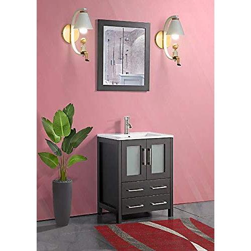 Brescia 24 inch Bathroom Vanity in Espresso with Single Basin Vanity Top in White Ceramic and Mirror