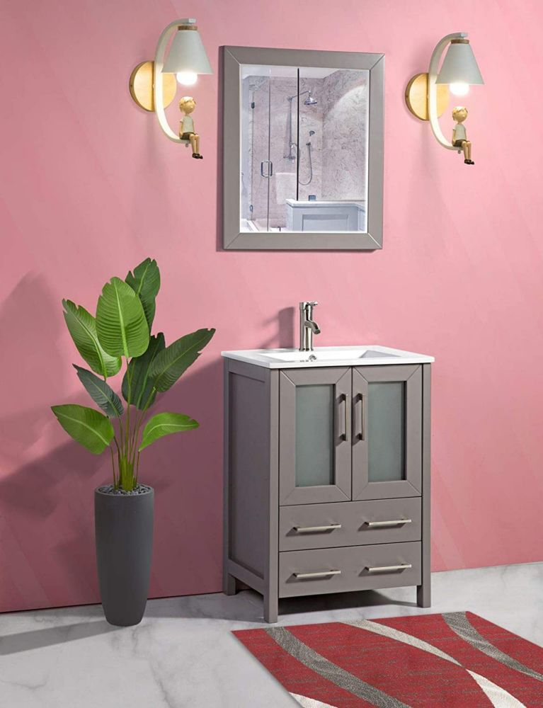 Vanity Art Brescia 24 inch Bathroom Vanity in Grey with ...