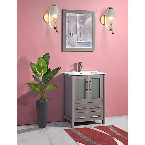 Brescia 24 inch Bathroom Vanity in Grey with Single Basin Vanity Top in White Ceramic and Mirror
