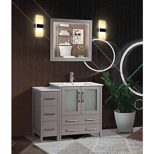 Brescia 42 inch Bathroom Vanity in Grey with Single Basin Vanity Top in White Ceramic and Mirror