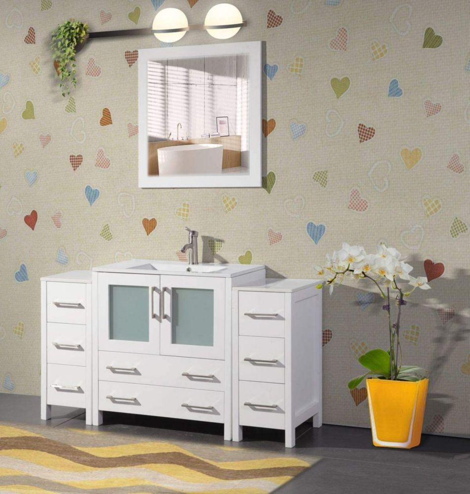 Vanity Art Brescia 54 Inch Bathroom Vanity In White With