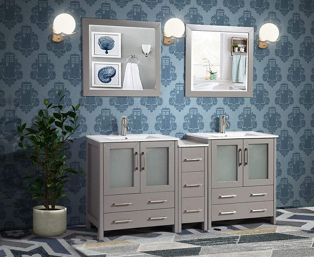 Vanity Art Brescia 72 inch Bathroom Vanity in Grey with ...