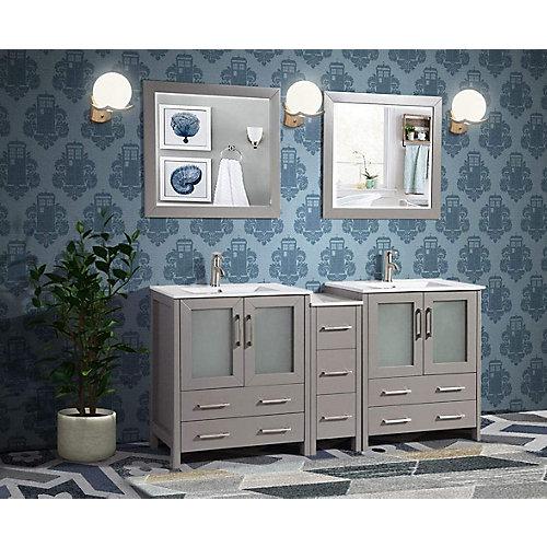 Brescia 72 inch Bathroom Vanity in Grey with Double Basin Vanity Top in White Ceramic and Mirror