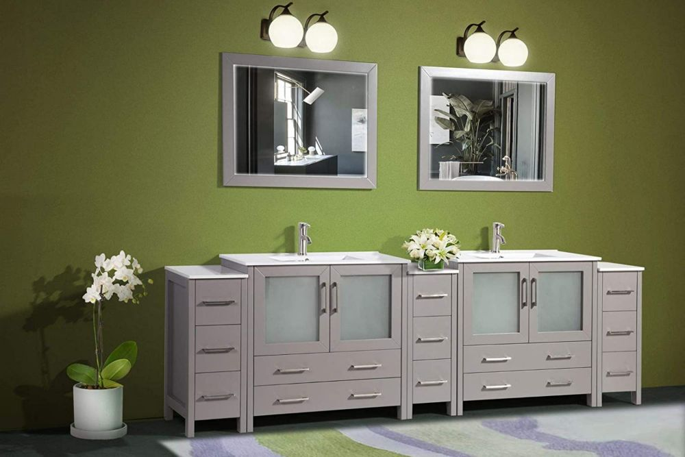 Vanity Art Brescia 108 inch Bathroom Vanity in Grey with Double Basin Vanity Top in White Ceramic and Mirror