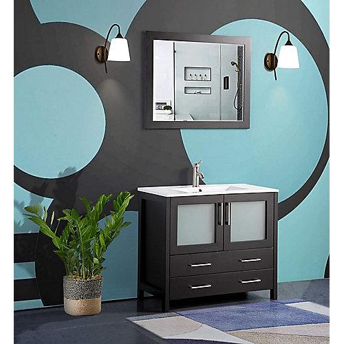 Brescia 36 inch Bathroom Vanity in Espresso with Single Basin Vanity Top in White Ceramic and Mirror