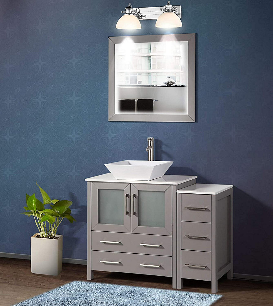 281b7d7cd4d69d Vanity Art Ravenna 42 inch Bathroom Vanity in Grey with Single Basin Vanity  Top in White Ceramic and Mirror