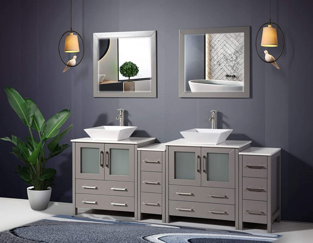 Vanity Art Ravenna 84 inch Bathroom Vanity in Grey with Double Basin Vanity Top in White Ceramic and Mirror
