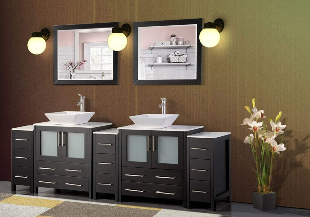 Vanity Art Ravenna 96 inch Bathroom Vanity in Espresso with Double Basin Top in White Ceramic and Mirror