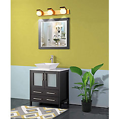 Ravenna 30inch Bathroom Vanity in Espresso with Single Basin Vanity Top in White Ceramic and Mirror