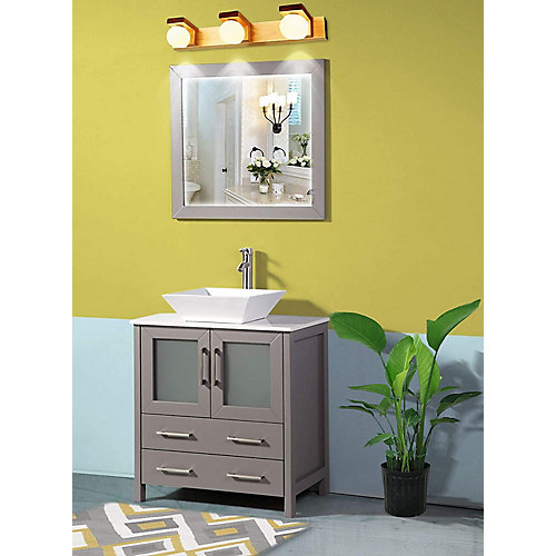 Ravenna 30 inch Bathroom Vanity in Grey with Single Basin Vanity Top in White Ceramic and Mirror