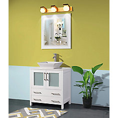 Ravenna 30 inch Bathroom Vanity in White with Single Basin Vanity Top in White Ceramic and Mirror
