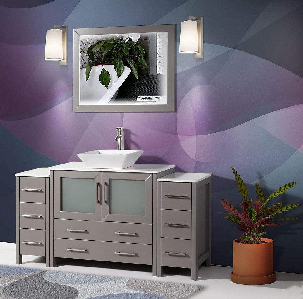 Vanity Art Ravenna 60 inch Bathroom Vanity in Grey with ...