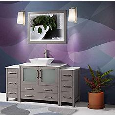 Ravenna 60 inch Bathroom Vanity in Grey with Single Basin Vanity Top in White Ceramic and Mirror