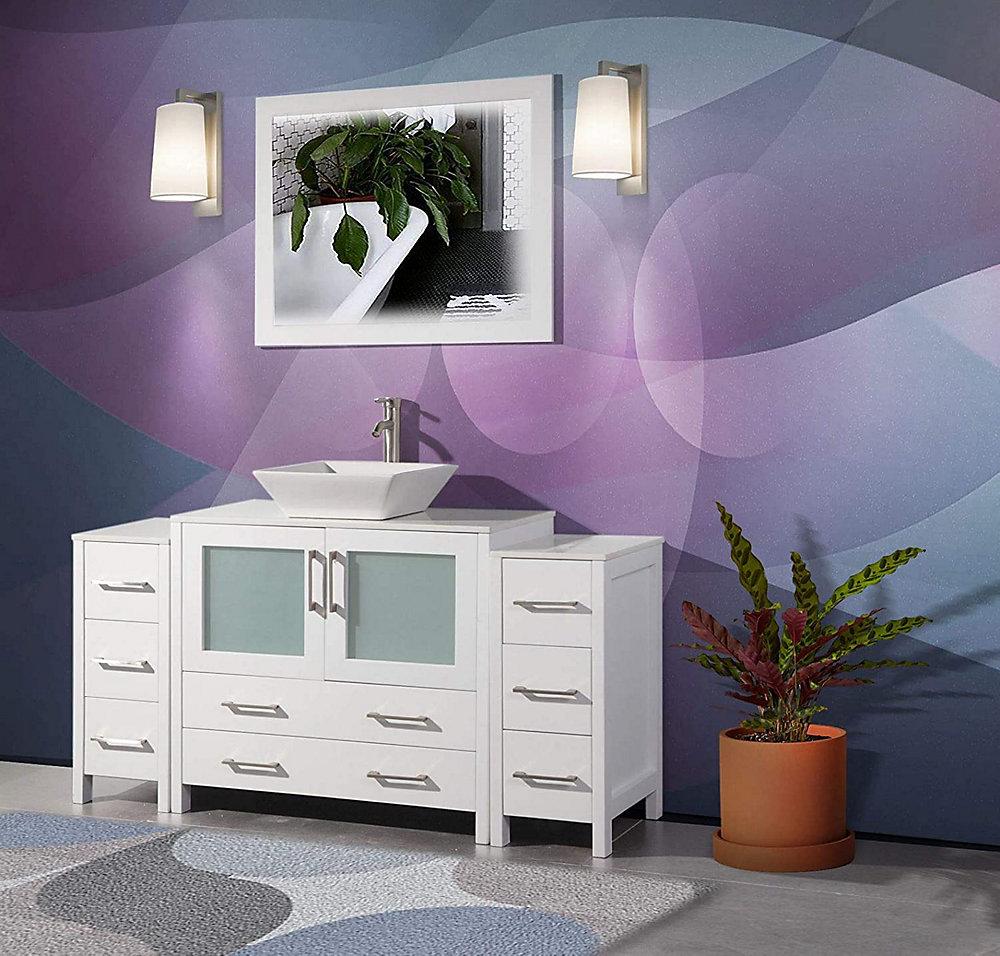 Vanity Art Ravenna 60 inch Bathroom Vanity in White with ...