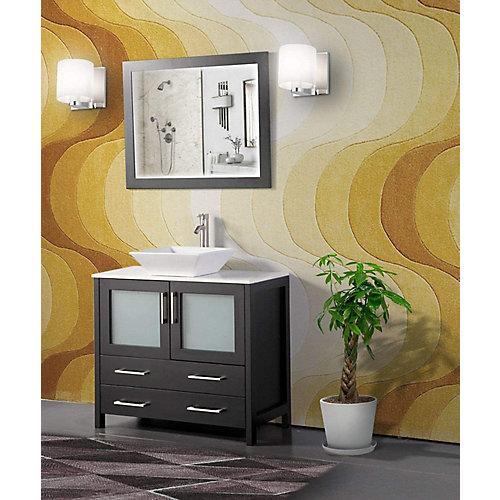 Ravenna 36 inch Bathroom Vanity in Espresso with Single Basin Vanity Top in White Ceramic and Mirror