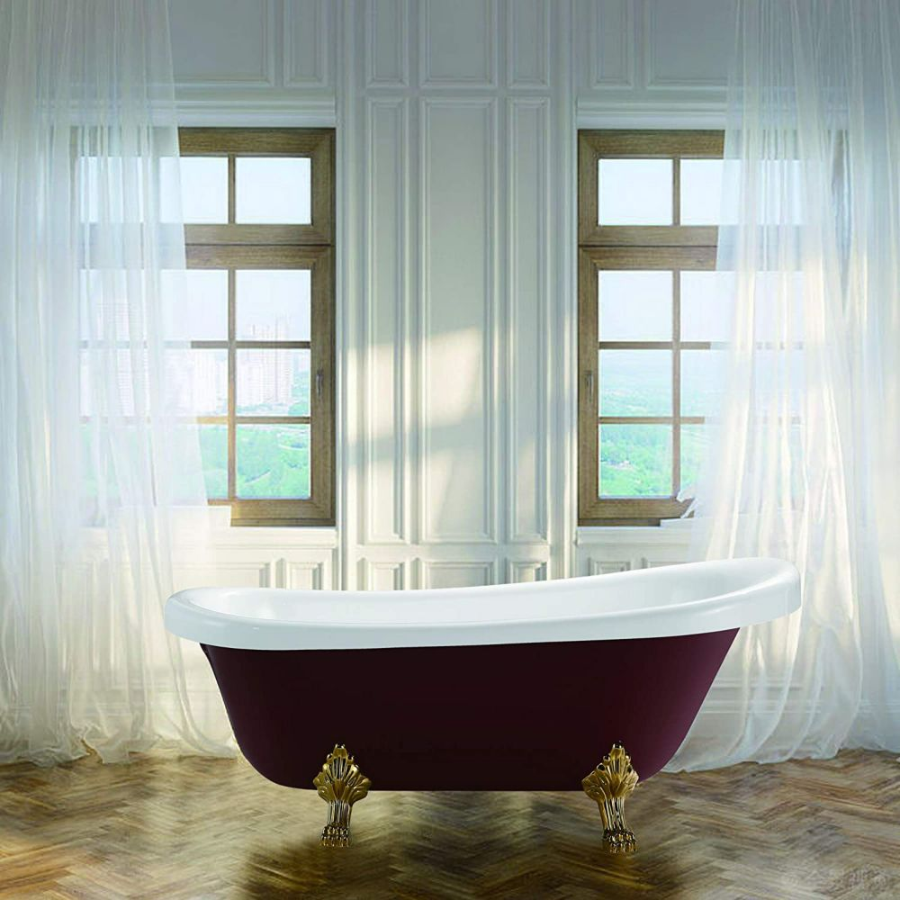 Vanity Art Freestanding claw foot acrylic bathtub with polished chrome pop-up drain. UPC Certified. 6311-RL