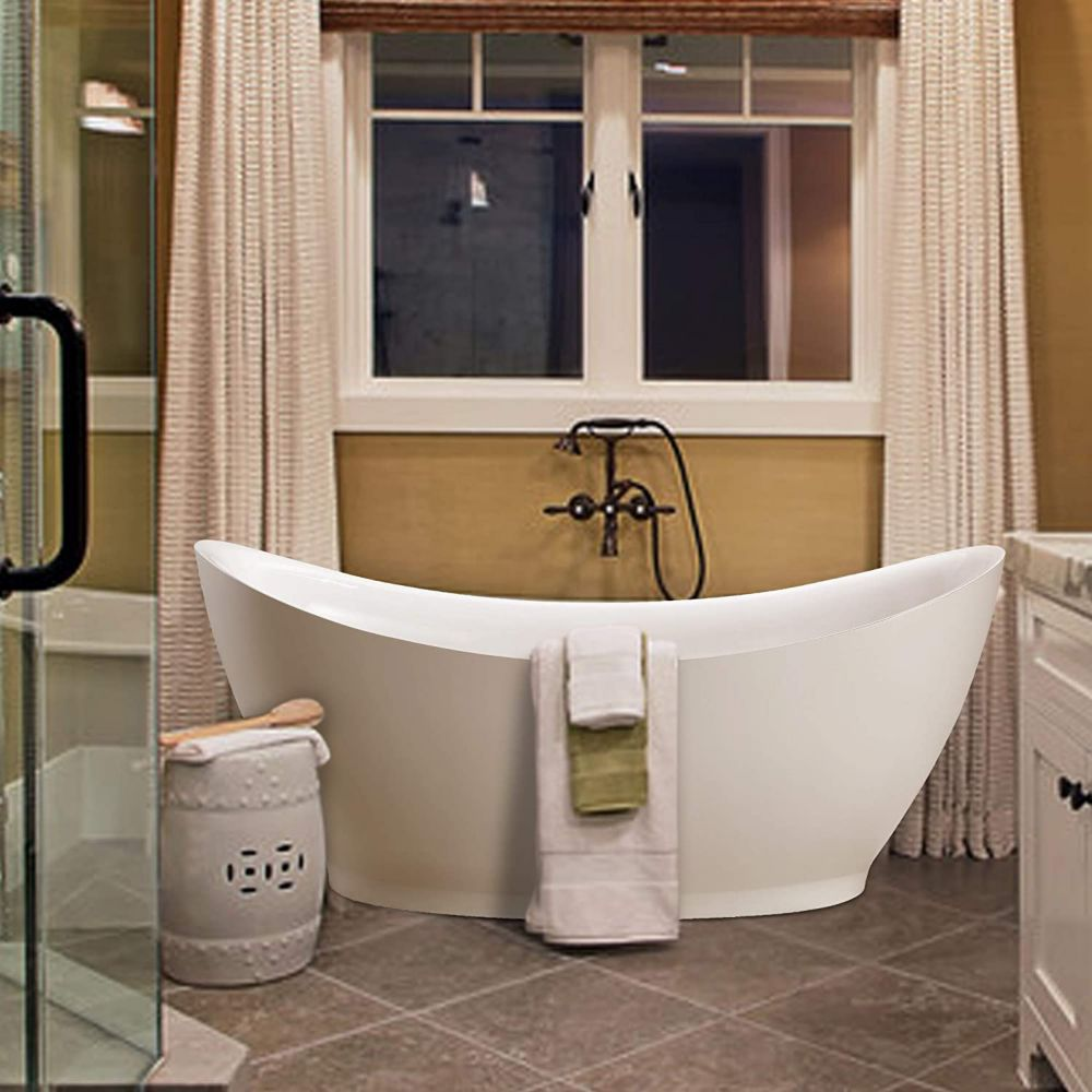 Vanity Art Freestanding Acrylic Bathtub With Polished