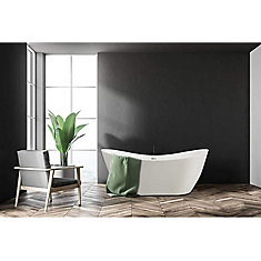 Freestanding acrylic bathtub with polished chrome slotted overflow and pop-up drain. 6517