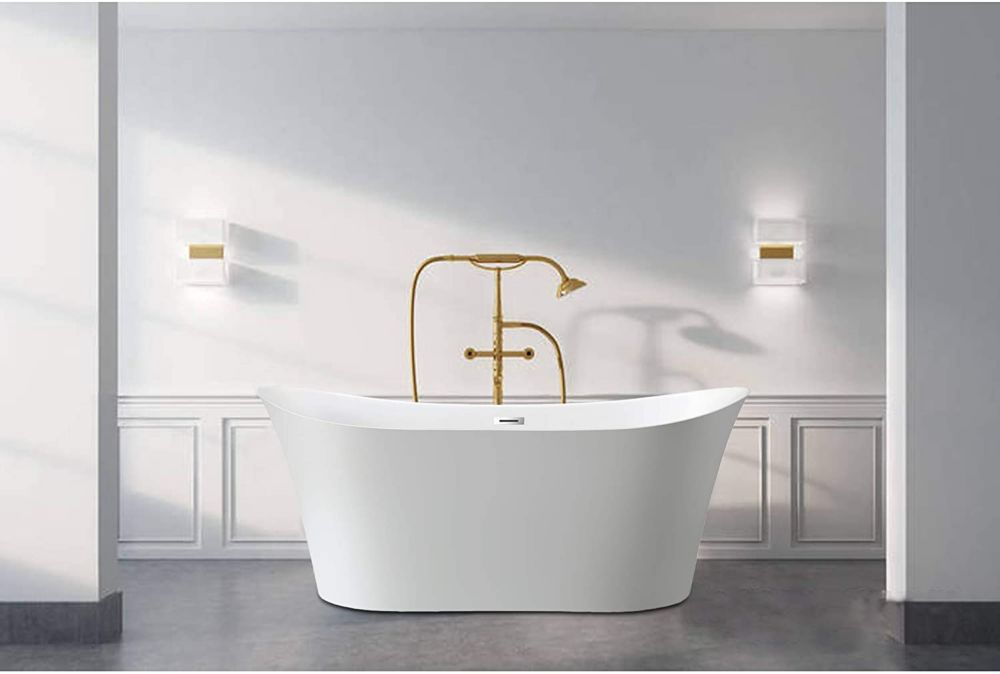 Vanity Art Freestanding acrylic bathtub with polished chrome slotted overflow and pop-up drain. 6805