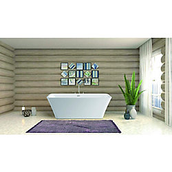 Vanity Art Freestanding acrylic bathtub with polished chrome slotted overflow and pop-up drain. 6820