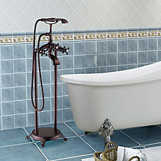 Freestanding faucet with shower head in oil-rubbed bronze VA2019