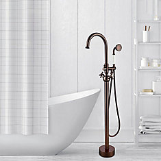 Freestanding faucet with shower head in oil-rubbed bronze VA2029
