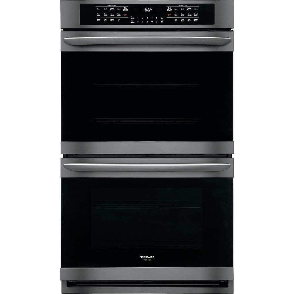 Frigidaire Gallery 30-inch Double Electric Wall Oven Self-Cleaning with Convection in Black Stainless Steel