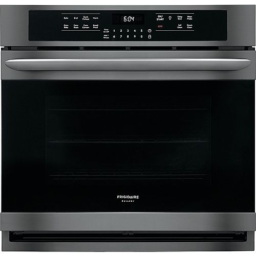 Frigidaire Gallery 30-inch Single Electric Wall Oven Self-Cleaning with Convection in Black Stainless Steel