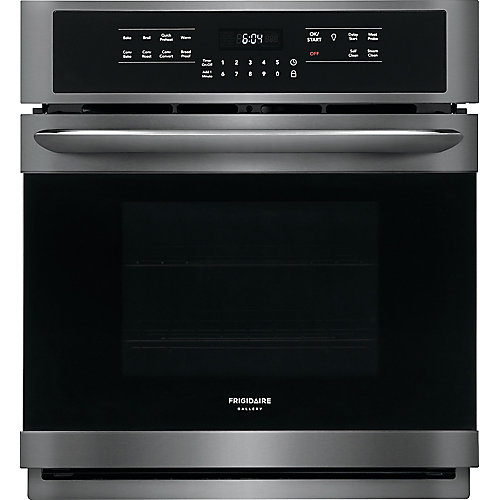 27-inch Single Electric Wall Oven Self-Cleaning with Convection in Black Stainless Steel