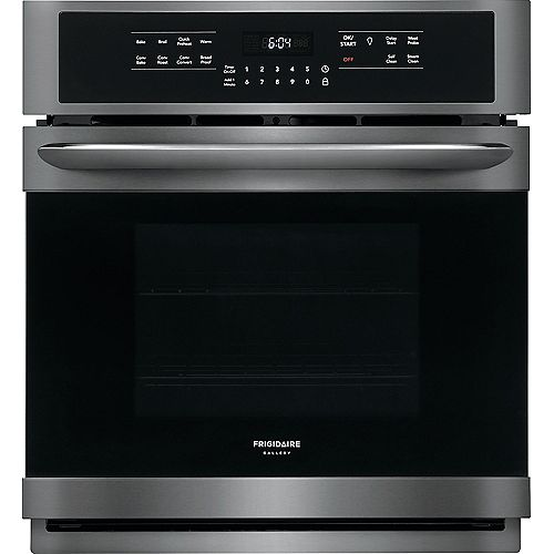 Frigidaire Gallery 27-inch Single Electric Wall Oven Self-Cleaning with Convection in Black Stainless Steel