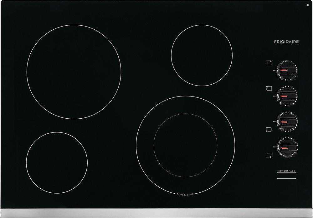 Table de cuisson électrique de 30 po à 4 éléments, y compris l'élément d'ébullition rapide en acier inoxydable