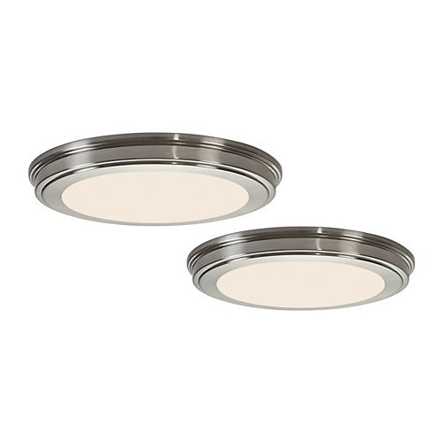 Commercial Electric 13-inch Colour-Changing Integrated LED Flush Mount Light Fixture in Brushed Nickel (2-Pack)