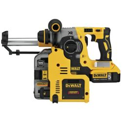 DEWALT 20V MAX XR 3 Mode SDS Rotary Hammer (5.0Ah) with 2 Batteries, Dust Extractor and Kit Box
