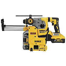 DEWALT 20V MAX XR 3 Mode SDS Rotary Hammer (6.0Ah) with 2 Batteries, Dust Extractor and Kit Box
